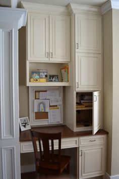 Desk in laundry room.  Starting from back corner and extending work space to possible include two desk areas