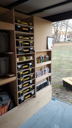 "Each bin is grouped for a category of hardware or fasteners such as deck screws (all sizes), Cabinet (pocket hole, 2-1/2"" cabinet, 5/8"" drawer screws, etc.) Plumbing, Anchors, BLUM hinges, roofing nails, etc. ..."