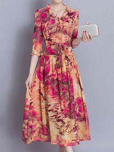 Bohemian Print 3/4 Sleeve V Neck Loose Hem Women Dresses