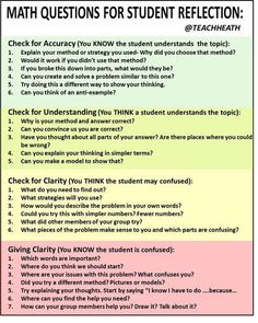 Math Questions for Student Reflection:  many great ideas and questions for math.