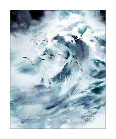 Janina B. Watercolor Ocean, Color Inspiration, Waves, Abstract, Artwork, Outdoor, Colour, Sailing Ships, Cards