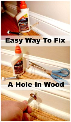 Use toothpicks and glue to fix a hole in wood trim. #diy www.chatfieldcourt.com
