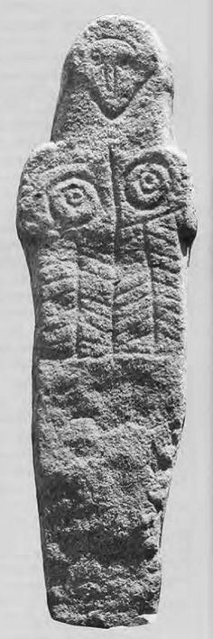Statue menhir from Ermida, northern Portugal, with tree pattern on torso.The breasts with nipples are unusual, although some in less pronounced relief are found in female statue-menhirs further to the south, in central Alentejo.  This one came to light in 1987.