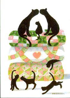 Quilt Kittens - Green by Diane Graebner