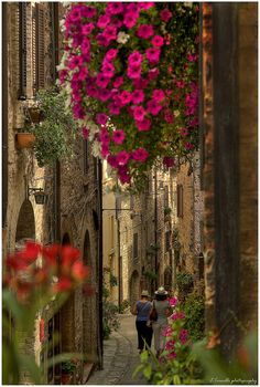 The beautiful streets of Spello in Umbria, Italy