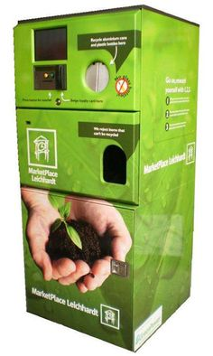 Envirobank - Insert your empty bottles or cans to receive vouchers or win prizes! Once a container is deposited, the machine will sort, crush, compress or shred it, while reading the container's barcode to determine what type of material it is. The EnviroBank can hold up to 3000 cans and/or PET bottles before needing to be emptied.