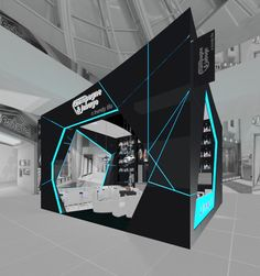 "i like this because of the charcoal. we could do red lighting instead of blue. def change the shape. Stand Design - Silvan Francisco, ""Champagne Jabugo"", in Madrid. Exhibition Stand Design, Exhibition Stall, Exhibition Display, Exhibition Ideas, Kiosk Design, Display Design, Retail Design, Stage Design, Event Design"
