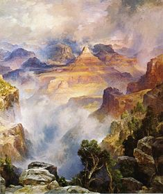 """Canyon Mists: Zoroaster Peak,"" Thomas Moran, 1914, oil on canvas, 30 1/4 x 25 1/4"", private collection."