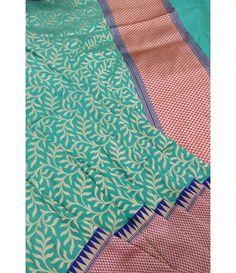 Green Handloom Banarasi Katan Silk Saree