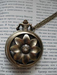 Necklace Pendant Flower bronze Pocket Watch by Azuraccessories, $8.93