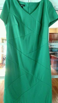 AGB Classic Emerald Kelly Green Short Sleeve Sheath Dress 8 NWT | eBay