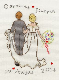 Happy Ever After - cross stitch kit by Bothy Threads - A simple wedding sampler with bride and groom personalised with names and date of marriage. Cross Stitch Love, Cross Stitch Cards, Cross Stitch Kits, Cross Stitch Designs, Cross Stitching, Cross Stitch Embroidery, Embroidery Patterns, Hand Embroidery, Alice In Wonderland Cross Stitch