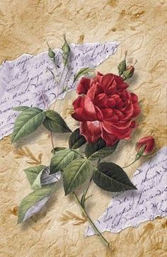 Get the technic of the rose, right and what a great centre piece in a medalion quilt. Decoupage Vintage, Decoupage Art, Vintage Diy, Vintage Cards, Vintage Paper, Vintage Postcards, Vintage Pictures, Vintage Images, Vintage Flowers