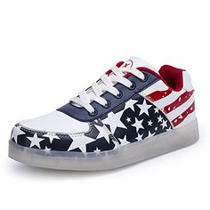 Womens Luminous Flashing Light Up USB Charging LED Couples Shoes Fashion Sneakers American Flag Shoes *** You can get more details by clicking on the affiliate link Amazon.com.