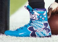 Cam Newton's Charlotte Hornets Under Armour Football Cleats (3)