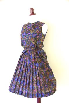 Vintage 1950s Blue and Purple Floral Pleated by RetroKittenVintage, $42.00
