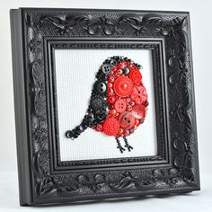 Framed Button Art   Red Robin  Handmade от PaintedWithButtons