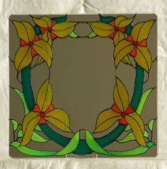 Yellow lily mirror tile - glass painting