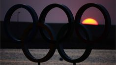 The Olympic rings are seen at sunset on Day 14 of the London 2012 Olympic Games at Weymouth & Portland.