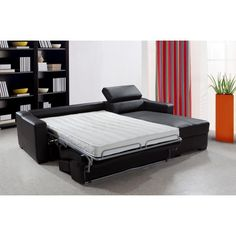 Divani Casa Flip   Reversible Espresso Leather Sectional Sofa Bed With  Storage