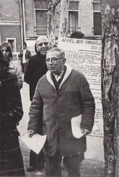 Foucault and Jean-Paul Sartre at a demonstration at Goutte d'Or Source.