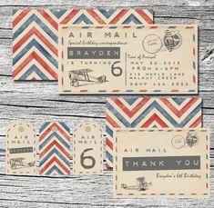 Vintage Air Mail Invitations Pack of 25 by theblueeggevents, $48.00