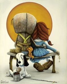 MOMENTS WE TREASURE FOR LIFE  by Fabio Napoleoni -Continuing with his Homage to the Masters, Fabio looks to Norman Rockwell for this inspiring new work. It is Fabio's take on Norman Rockwell's painting, Boy and Girl Gazing at Moon (Puppy Love), painted in 1926.