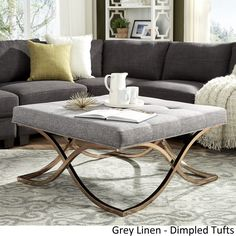 Solene X Base Square Ottoman Coffee Table - Champagne Gold by iNSPIRE Q Bold ([Grey Linen]- Dimpled Tufts), Size Large (Fabric)