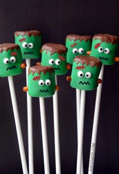 FRANKENSTEIN MARSHMALLOW POPS  INGREDIENTS:  Green candy melts (See Kelly's Notes) Marshmallows Small pretzel rods Semisweet chocolate chips Candy eyeballs Edible red and black markers  Equipment: toothpicks; lollipop sticks or colorful straws  DIRECTIONS:  Melt the green candy melts in a microwave or double boiler according to packa