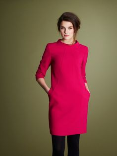 Pink dress with cut-off sleeves, side pockets and rounded high-neck by Paul Costelloe Living Studio Workwear, Pink Dress, Irish, High Neck Dress, Pockets, Studio, Stylish, Natural, Coat