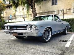 "Mike Finnegan's '69 El Camino is an ongoing project for the ""Roadkill"" TV show. To make room for a set of big Wilwood brakes, they installed these Forgeline DE3C Concave wheels finished with Gunmetal centers & Polished outers. See more at: http://www.forgeline.com/customer_gallery_view.php?cvk=932"