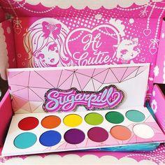 How cute is this #Sugarpill #ProPalette?!  (L-R): Love+, Flamepoint, Buttercupcake, Acidberry,  Midori, Mochi, Kim Chi, Velocity, Poison Plum, 2AM, Suburbia, Tako.