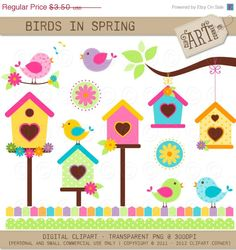 20 OFF Digital Clipart  Birds in Spring DC2483 by ClipArtCorner, $2.80