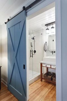Gorgeous modern cottage bathroom style is easy to copy with these 5 things that every modern cottage bathroom needs. (Bathroom design + renovation tips) Modern Cottage Bathrooms, Bedroom Door Decorations, Door Design, House Design, Cottage Interiors, Bedroom Doors, Bedroom Closets, Interior Barn Doors, Interior Door Colors