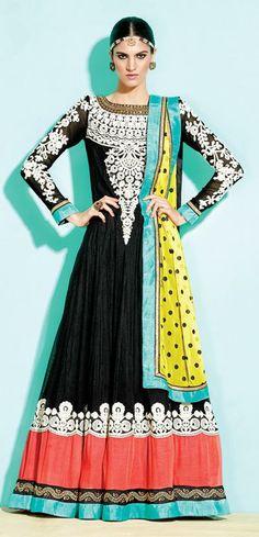 USD 86.25 Black and Peach Net Embroidered Pakistani Salwar Kameez 31517