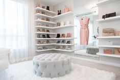 This walk-in closet designed by lisa adams of la closet design features a chic staging area that's social media ready. photography courtesy of la closet Walk In Closet Design, Closet Designs, Sala Glam, Closet Bedroom, Bedroom Decor, Dream Bedroom, Placard Design, Dressing Room Design, Dressing Rooms