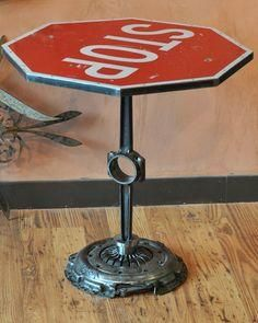 Stop sign table, car parts base. Interesting table for man cave. Industrial Design Furniture, Industrial Interiors, Furniture Design, Industrial Chic, Furniture Ideas, Industrial Closet, Shaker Furniture, Industrial Bookshelf, Industrial Windows