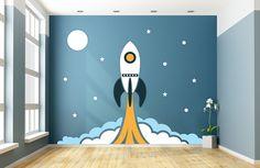 Houten muurdesign Raket jongenskamer 286 x 226 cm (bxh). Een super raket waarmee je zomaar naar de maan kunt vliegen. De raket is vormgegeven voor zowel jongens- als meisjeskamers. (In meerdere kleuren verkrijgbaar)