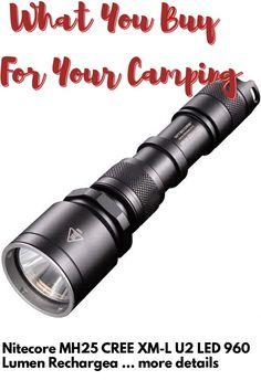 (This is an affiliate pin) Nitecore MH25 CREE XM-L U2 LED 960 Lumen Rechargeable Flashlight, Black Camping Lights, Flashlight, U2, Black, Black People