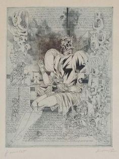 Kass János - Hamlet, intaglio, 39 x 30 cm Etching Prints, Stamp Collecting, Painters, Vintage World Maps, Art, Art Background, Kunst, Performing Arts, Art Education Resources