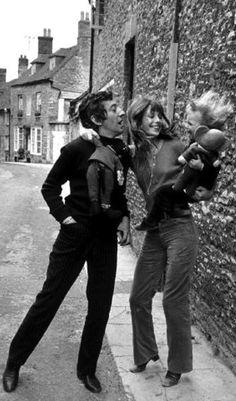 Jane Birkin, Serge and Charlotte Gainsbourg in 1970
