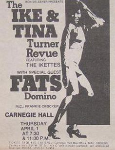 Ike and Tina Turner, Fats Domino concert - 1 April 1971 - Carnegie Hall, New York City