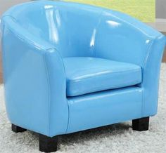 Cady Blue Vinyl Youth Chair