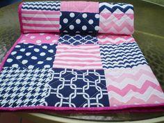 Baby Quilt,Nautical Baby quilt,baby girl quilt bedding,Patchwork Crib quilt,navy blue,hot pink,chevron baby blanket,dot,modern quilt,toddler