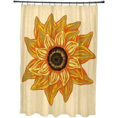 Simply Daisy 71 inch x 74 inch el Girasol Feliz Flower Print Shower Curtain, Yellow