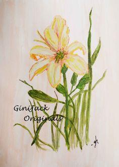 Original Watercolor Painting Day Lily 8 X 10 by GiniJackOriginals, $59.95