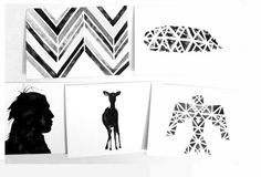 Buy Tribal Card Set / Native American / Chevron / Feather / Thunderbird / Deer / tribal art by tribalink. Explore more products on http://tribalink.etsy.com