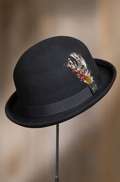e36f63d78d31c Crushable Wool Derby Bowler Hat with Feather Accent