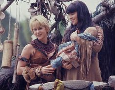 Gabrielle and Xena initiate baby Eve into the Amazon Nation
