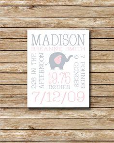 Custom Birth Print  Pink and Grey Elephant  by swtlittlehodgepodge, $10.00